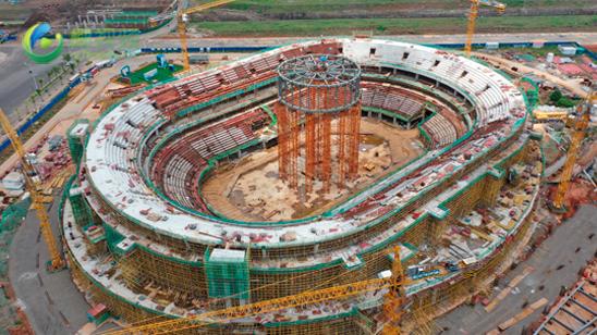 瞰亿博体育app下载:海口五源河体育馆项目进度过半 预计2021年底投用