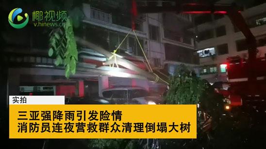 椰视频 实拍:三亚强降雨引发险情 消防员连夜营救群众清理倒塌大树