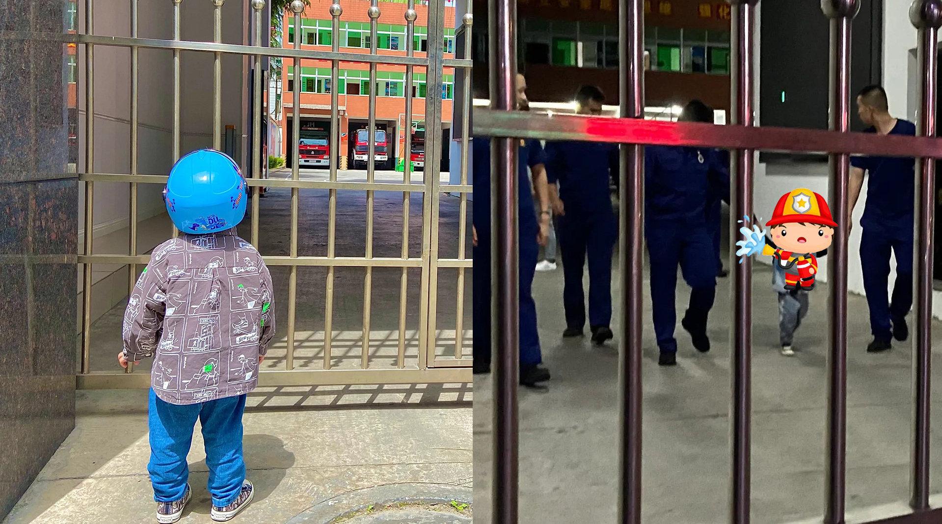 2岁萌娃花样蹲守消防车追梦成功:被消防员邀请参观