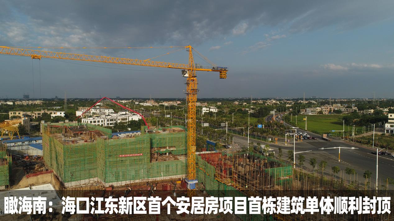 海口江东新区首个安居房项目首栋建筑单体顺利封顶