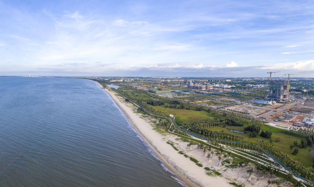 航拍海口江东新区起步区高颜值海岸景观带